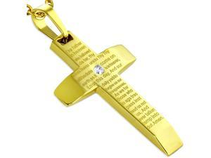 Stainless Steel CZ Yellow Gold-Tone Lords Our Father Prayer English Pendant Necklace, 20""