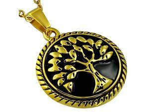 Stainless Steel Yellow Gold-Tone Tree of Life Pendant Necklace, 21""
