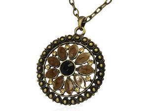 Fashion Alloy Flower Circle of Life Black CZ Charm Necklace