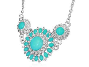 Fashion Alloy Vintage Turquoise-Tone Silver-Tone Flower Charm Bib Necklace