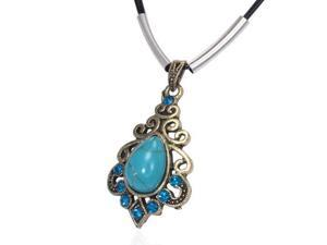 Fashion Alloy Turquoise-Tone Flower Spiral Teardrop Charm Blue Black Chain Pendant