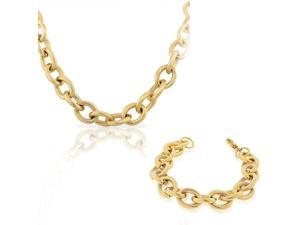 EDFORCE Stainless Steel Yellow Gold-Tone Chunky Large Chain Necklace Bracelet Set