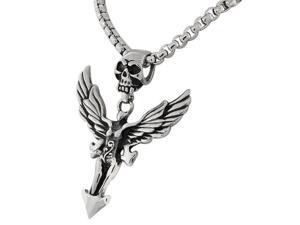 Stainless Steel Silver-Tone Large Mens Link Chain Scull Head Wings Woman Necklace Pendant