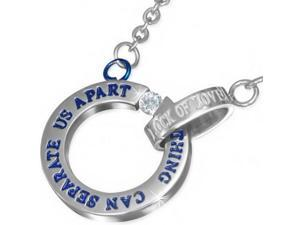 Stainless Steel Blue Silver-Tone Lock of Love Nothing Can Separate Us Apart Pendant Necklace with CZ