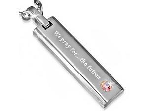Stainless Steel Silver-Tone Pink CZ We Pray for the Future Pendant Necklace with Chain