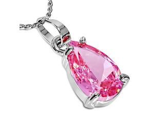 Fashion Alloy Silver-Tone Womens Solitaire Pink Teardrop CZ Pendant Necklace