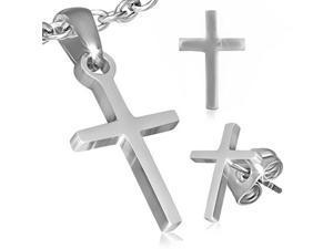 Stainless Steel Silver-Tone Latin Cross Necklace Pendant Stud Earrings Set