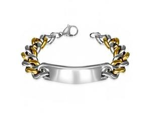 Stainless Steel Two-Tone Mens Classic Link Chain Bracelet