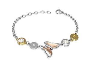 Stainless Steel Silver Yellow Rose Gold CZ Butterfly Womens Bracelet