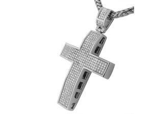 Stainless Steel White CZ Large Hip Hop Cross with Chain Mens Pendant