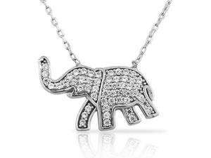 925 Sterling Silver Elephant White CZ Womens Girls Pendant Necklace