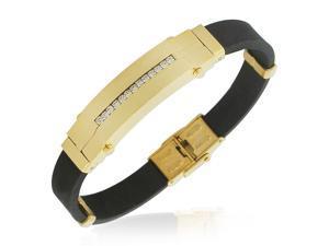 EDFORCE Stainless Steel Yellow Gold-Tone Black Rubber CZ Mens Bracelet
