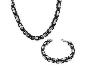 EDFORCE Stainless Steel Silver-Tone Black Mens Classic Link Chain Necklace Bracelet Set