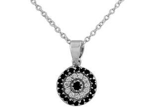 925 Sterling Silver Evil Eye Hamsa White Black CZ Womens Pendant Necklace