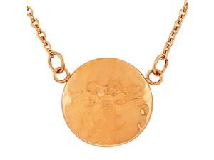 Stainless Steel Rose Gold-Tone Hammered Finish Womens Round Circle Pendant Necklace with Chain