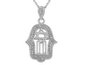 925 Sterling Silver Large Hamsa Jewish Star of David White CZ Pendant Necklace