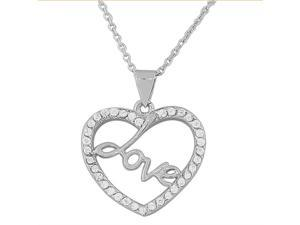 925 Sterling Silver Love Heart White CZ Pendant Necklace with Chain