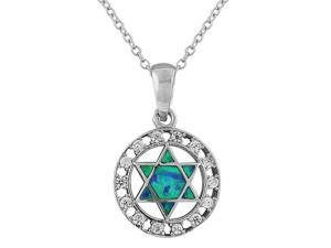 925 Sterling Silver Jewish Star of David Blue Turquoise-Tone Simulated Opal CZ Pendant Necklace