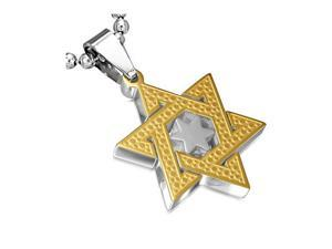 Stainless Steel Two-Tone Jewish Star of David Charm Pendant Necklace with Chain, 24""