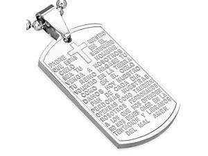 Stainless Steel Silver-Tone Lords Prayer Padre Nuestro in Spanish Pendant Necklace, 24""