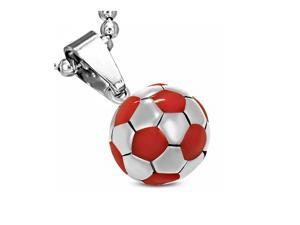 Stainless Steel Silver-Tone Red Soccer Ball Football Charm Pendant Necklace, 18""