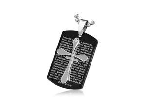 Stainless Steel Black Silver-Tone Cross Crucifix Prayer in English Pendant Necklace, 24""