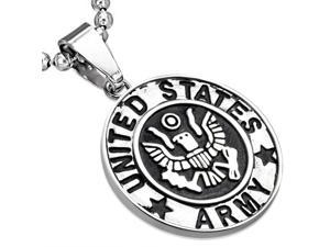 """Stainless Steel Silver-Tone United States Army Eagle Pendant Necklace, 24"""""""