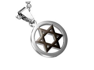 Stainless Steel Black Silver-Tone Jewish Star of David Charm Pendant Necklace with Chain, 18""