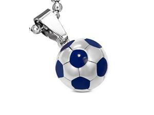 """Stainless Steel Silver-Tone Blue Soccer Ball Football Charm Pendant Necklace, 18"""""""