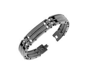 Stainless Steel Black Greek Key White CZ Link Men's Bracelet