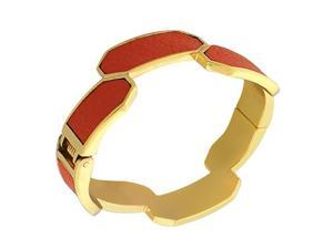 Fashion Alloy Yellow Gold-Tone Orange Faux PU Leather Bangle Bracelet