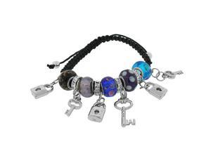 Fashion Alloy Silver-Tone Padlock Key Love Charm Macrame Multicolor Adjustable Bracelet