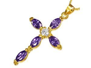 Fashion Alloy Yellow Gold-Tone Religious Cross Purple CZ Pendant Necklace
