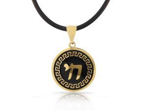 Stainless Steel Yellow Gold-Tone Black Greek Key Jewish Chai Men's Boys Pendant Necklace