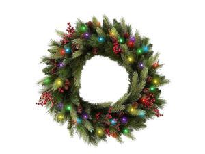 Cordless LED Pre-lit Cone & Berry Christmas Wreath