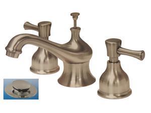 Aqualux Vienna Collection, 673-9604, Satin Nickel, Widespread Lavatory Bathroom Sink Faucet, With Pop Up