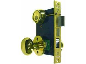 "Marks 22AC/3-W-RHR, Polished Brass, Right Hand, Ornamental Knobe Rose Mortise Entry Lockset Iron Gate Door Double Cylinder Lock Set, 2-1/2"" Backset, 1"" X 7-1/8"" Faceplate"