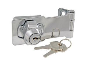 """Ultra Hardware, 31810, 4"""" Polished Chrome Key Cylinder Keyed Hasp Lock"""