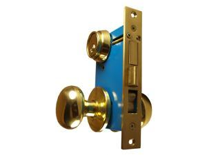 "Maxtech (Marks 22AC/3-W-RHR Like), Polished Brass, Right Hand, Heavy Duty Ornamental Knobe Rose Mortise Entry Lockset Iron Gate Door Double Cylinder Lock Set, 2-1/2"" Backset, 1"" X 7-1/8"" Faceplate"