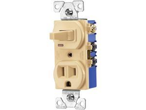 Cooper Wiring Devices, 274V-BOX, 15A, 125V, Ivory, 2 Pole, 3 Wire Grounding, Combination Single Pole Toggle Switch & Outlet, Duplex