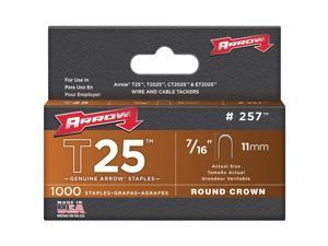 """Arrow Fastener, 257, 1000 Pack, T25 / T2025 7/16"""" Staple, For T25 Stapler"""