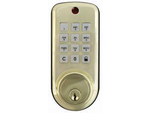 Ultra Security Plus, 43337, Polished Brass, Keyless Electronic Deadbolt Locking System Push Button Lockset, Single Cylinder