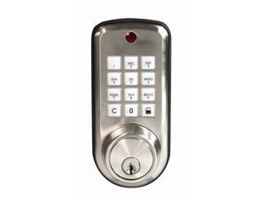 Ultra Security Plus, 43338, Satin Nickel, Keyless Electronic Deadbolt Locking System Push Button Lockset, Single Cylinder