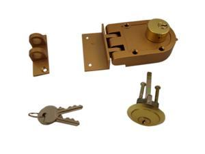 Ultra Hardware 44850 Jimmy Proof Deadlock Deadbot Double Cylinder With Angle and Flat Strike - Brass, Boxed