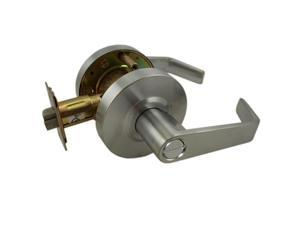 Ultra Hardware, 44254, Satin Chrome US26D, Privacy Bed & Bath Button On The Inside Grade 2 Commercial ADA Cylindrical Angled Lever Lockset Lock Set