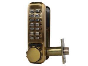 Ultra Hardware, 44725, Antique Brass, Mortise Spring Deadlatch Internal Turn Knob Push Button Combination Door Lock