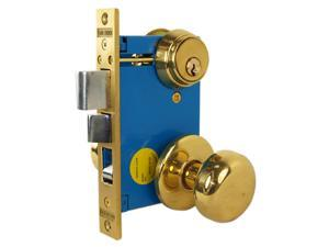 "Maxtech (Like Marks 22AC/3-W-RH), Polished Brass, Right Hand, Heavy Duty Ornamental Knobe Rose Mortise Entry Lockset Iron Gate Door Double Cylinder Lock Set, 2-1/2"" Backset, 1"" X 7-1/8"" Faceplate"