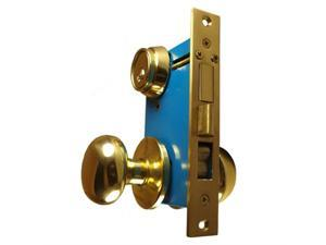 "Ultra Hardware 44630R (Like Marks 22AC/3-W-RHR) Polished Brass Right Hand Heavy Duty Ornamental Knob Rose Mortise Entry Iron Gate Door Double Cylinder Lockset 2-1/2"" Backset 1"" X 7-1/8"" Faceplate"