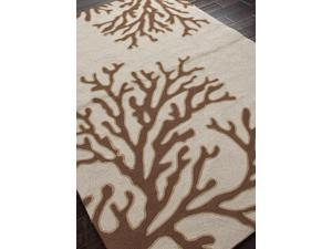 Hand-Hooked Coastal Pattern Ivory Brown (2x3) Polypropylene Area rug