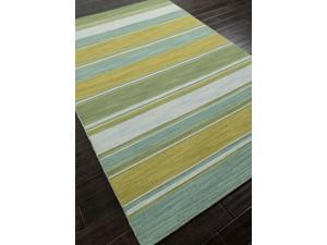 Flat-Weave Stripe Pattern Blue Green (2x3) Wool Area rug